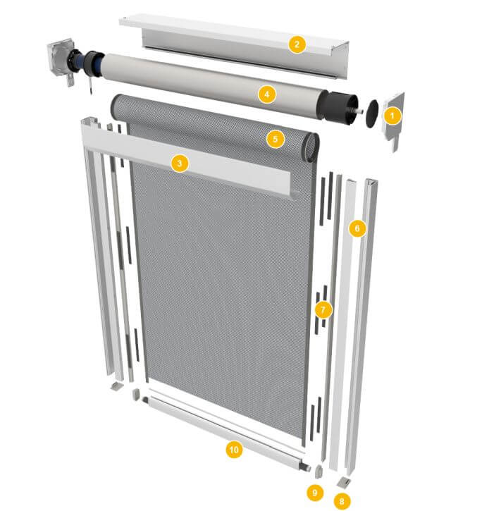 Uproszczona budowa zewnętrznej rolety tekstylnej mSCREEN CLASSIC 45